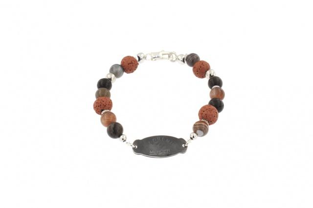 Bracciale da uomo in argento con pietre dure color rosa antico