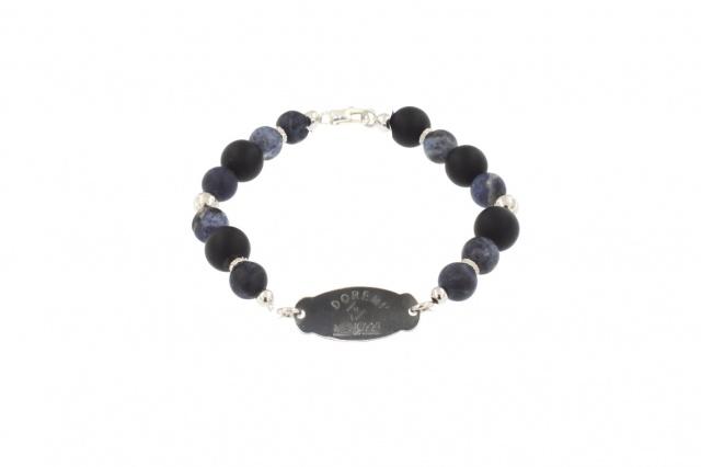 Bracciale da uomo in argento con pietre dure color nero-blu