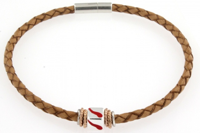 Bracciale in cuoio con simbolo smaltato (corno portafortuna)