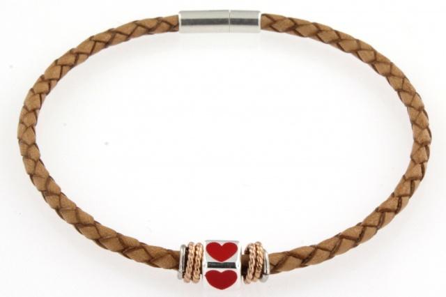 Bracciale in cuoio con simbolo smaltato (cuore)