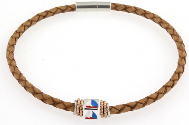Bracciale in cuoio con simbolo smaltato (vela)